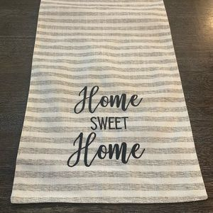 Gray/ white stripe table runner with embroidering